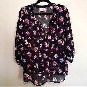 St Johns Bay Floral Boho Style 3/4 Sleeve Blouse